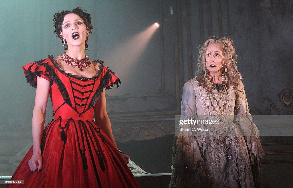Grace Rowe as Estella and Paula Wilcox as Miss Havisham attend a photocall for 'Great Expectations' at Vaudeville Theatre on February 4, 2013 in London, England.
