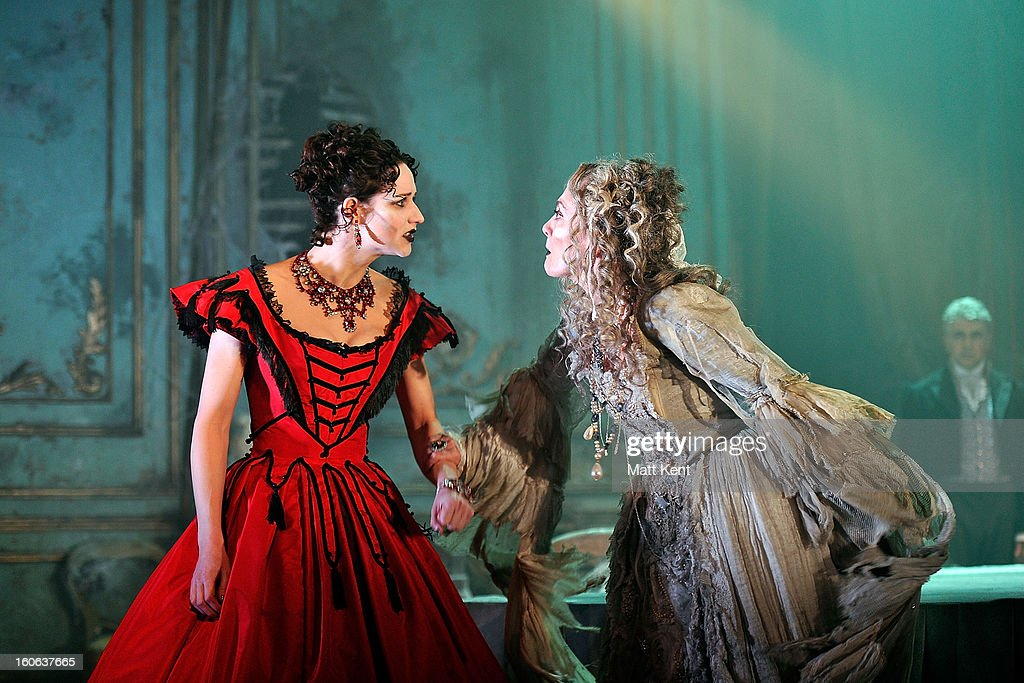Grace Rowe as Estella (L) and Paula Wilcox as Miss Havisham pose during a photcall for 'Great Expectations' at Vaudeville Theatre on February 4, 2013 in London, England.