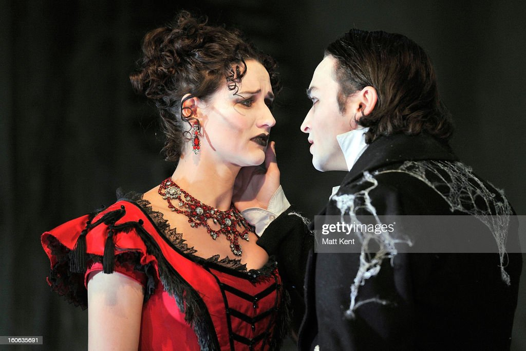 Grace Rowe as Estella (L) and Taylor Jay-Davies as Young Pip pose during a photcall for 'Great Expectations' at Vaudeville Theatre on February 4, 2013 in London, England.