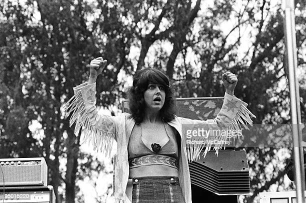 Grace Slick of Jefferson Airplane performs live at Golden Gate Park in 1975 in San Francisco California
