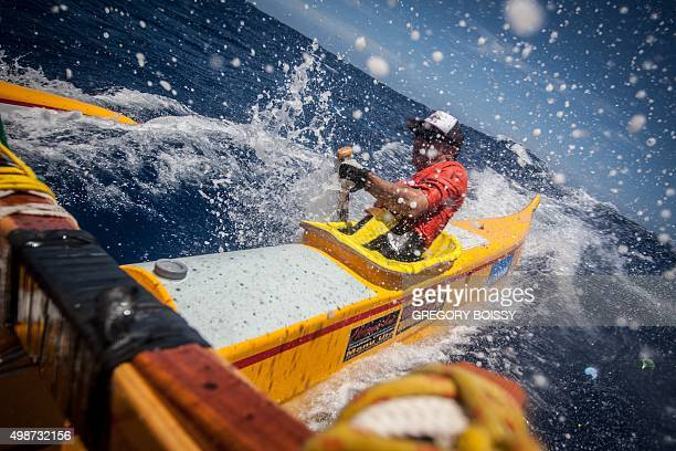 US Grace Van der byle competes in the Holopuni Va'a Ironmana Channel Crossing 2015 from Tahiti to Morrea on November 23 2015 Holopuni Va'a Ironmana...