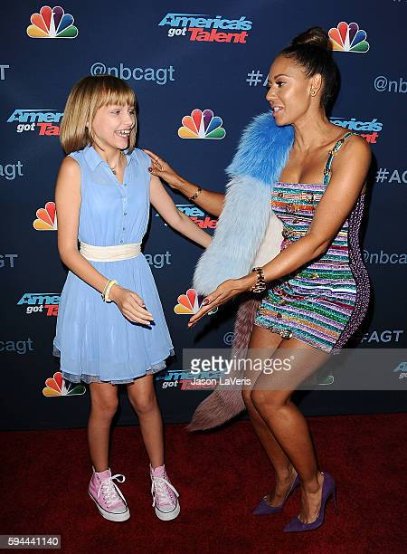 Grace VanderWaal and Mel B attend the 'America's Got Talent' season 11 live show at Dolby Theatre on August 23 2016 in Hollywood California