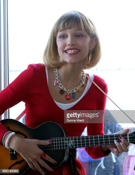 Grace Vanderwaal performs after lighting the Empire State Building Red in honor of the 23rd Annual Valentine's Day Wedding Contest at The Empire...