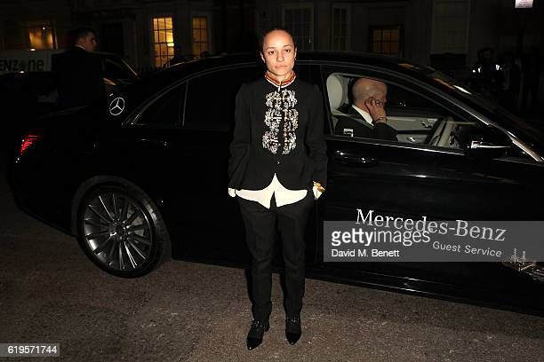 Grace Wales Bonner arrives in style in a MercedesBenz at the Harper's Bazaar Women of the Year 2016 at Claridges Hotel on October 31 2016 in London...