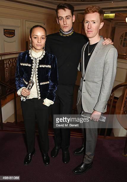 Grace Wales Bonner winner of the Emerging Talent Award Thomas Tait winner of the Emerging Womenswear Designer Award and Jordan Askill winner of the...