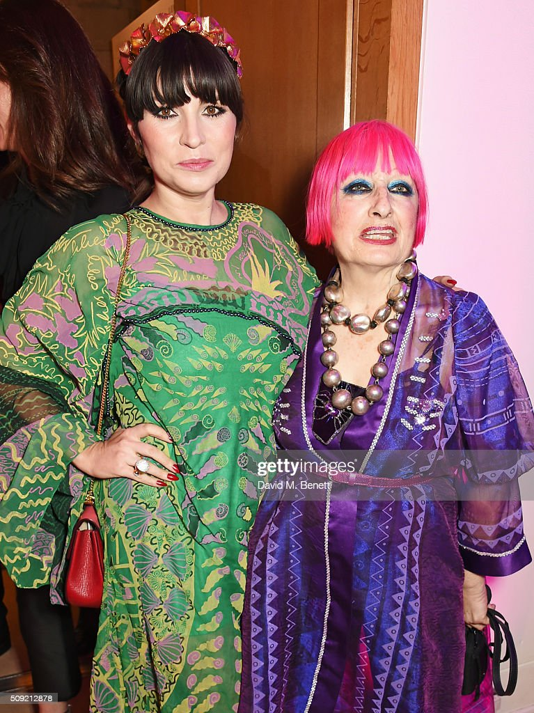 Grace Woodward (L) and Dame Zandra Rhodes attend a private view of 'Vogue 100: A Century of Style' hosted by Alexandra Shulman and Leon Max at the National Portrait Gallery on February 9, 2016 in London, England.