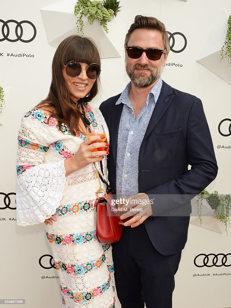Grace Woodward (L) and Kenneth Drewery attend day one of the Audi Polo Challenge at Coworth Park on May 28, 2016 in London, England.