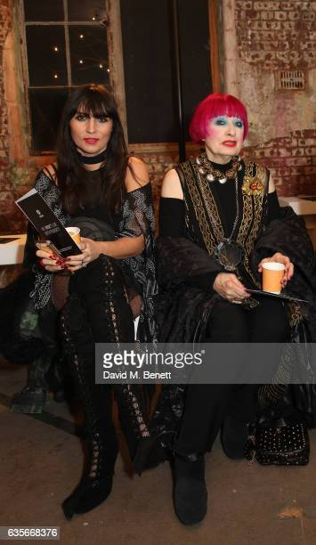 Grace Woodward and Zandra Rhodes attend Oxfam's Fashion Fighting Poverty show styled by Bay Garnett at The Barge House Oxo Tower on February 16 2017...