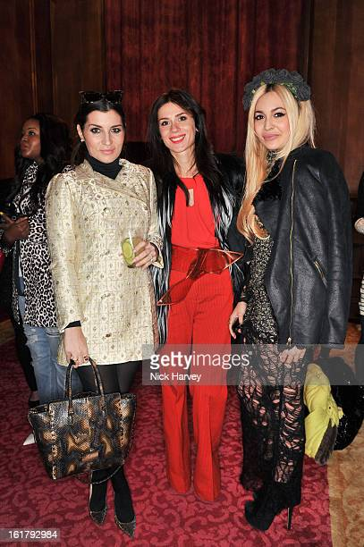 Grace Woodward Lara Bohinc and Zara Martin attend the Julien Macdonald show during London Fashion Week Fall/Winter 2013/14 at Goldsmiths' Hall on...