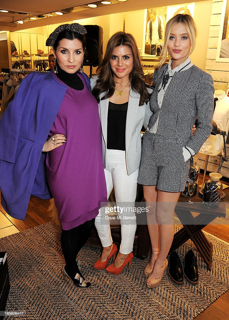 Grace Woodward, Zoe Hardman and Laura Whitmore attend the Panasonic Technics 'Shop To The Beat' Party hosted by George Lamb at French Connection, Oxford Circus, on March 13, 2013 in London, England.