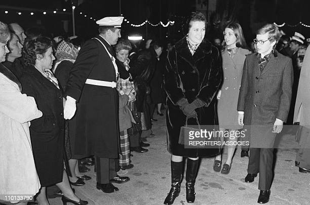 GraceCaroline and Albert of Monaco with family at the traditionnal religious festival ste devote on January 29th1971