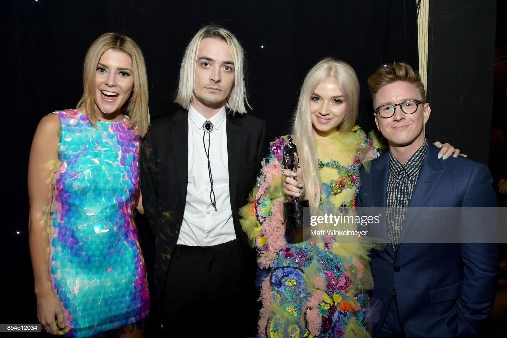 Grace Helbig (L) Poppy, and Tyler Oakley at the 2017 Streamy Awards at The Beverly Hilton Hotel on September 26, 2017 in Beverly Hills, California.