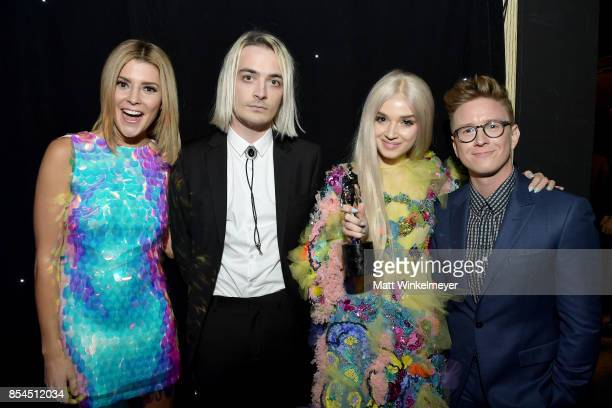 Grace Helbig Poppy and Tyler Oakley at the 2017 Streamy Awards at The Beverly Hilton Hotel on September 26 2017 in Beverly Hills California