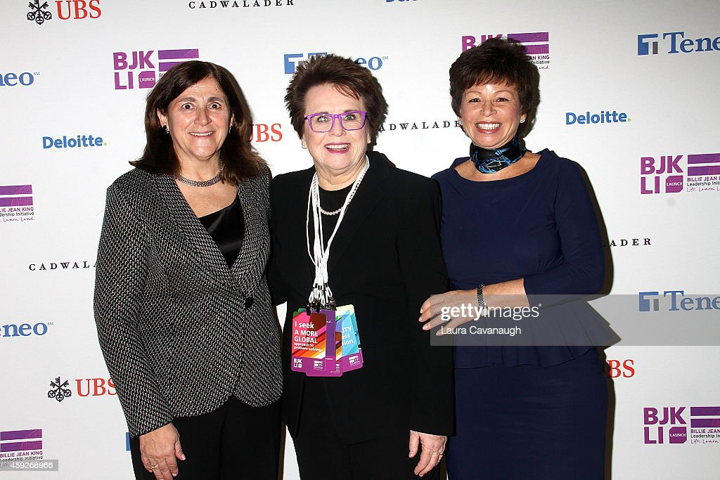 Gracia Martore, <a gi-track='captionPersonalityLinkClicked' href=/galleries/search?phrase=Billie+Jean+King&family=editorial&specificpeople=93147 ng-click='$event.stopPropagation()'>Billie Jean King</a> and <a gi-track='captionPersonalityLinkClicked' href=/galleries/search?phrase=Valerie+Jarrett&family=editorial&specificpeople=5003206 ng-click='$event.stopPropagation()'>Valerie Jarrett</a> attend the <a gi-track='captionPersonalityLinkClicked' href=/galleries/search?phrase=Billie+Jean+King&family=editorial&specificpeople=93147 ng-click='$event.stopPropagation()'>Billie Jean King</a> Leadership Initiative Gala at Powerhouse at The American Museum of Natural History on November 19, 2014 in New York City.