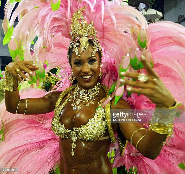Graciane Melo Queen of Mangueira samba school performs at the Sambodrome during the first night of carnival celebrations in Rio de Janeiro Brazil on...