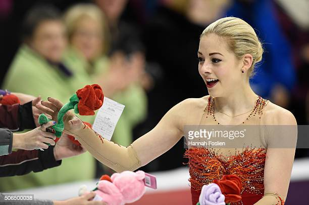 Gracie Gold accepts gifts from fans after she competed in the Ladies' Free Skate at the 2016 Prudential US Figure Skating Championship on January 23...