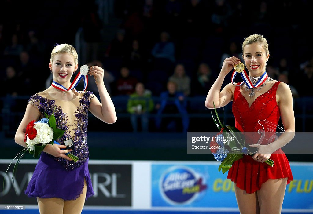 <a gi-track='captionPersonalityLinkClicked' href=/galleries/search?phrase=Gracie+Gold&family=editorial&specificpeople=9153874 ng-click='$event.stopPropagation()'>Gracie Gold</a> and <a gi-track='captionPersonalityLinkClicked' href=/galleries/search?phrase=Ashley+Wagner&family=editorial&specificpeople=2564533 ng-click='$event.stopPropagation()'>Ashley Wagner</a> celebrate after the Championship Ladies Free Skate Program Competition during day 3 of the 2015 Prudential U.S. Figure Skating Championships at Greensboro Coliseum on January 24, 2015 in Greensboro, North Carolina.
