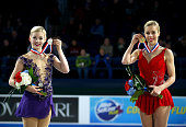 Gracie Gold and Ashley Wagner celebrate after the Championship Ladies Free Skate Program Competition during day 3 of the 2015 Prudential US Figure...