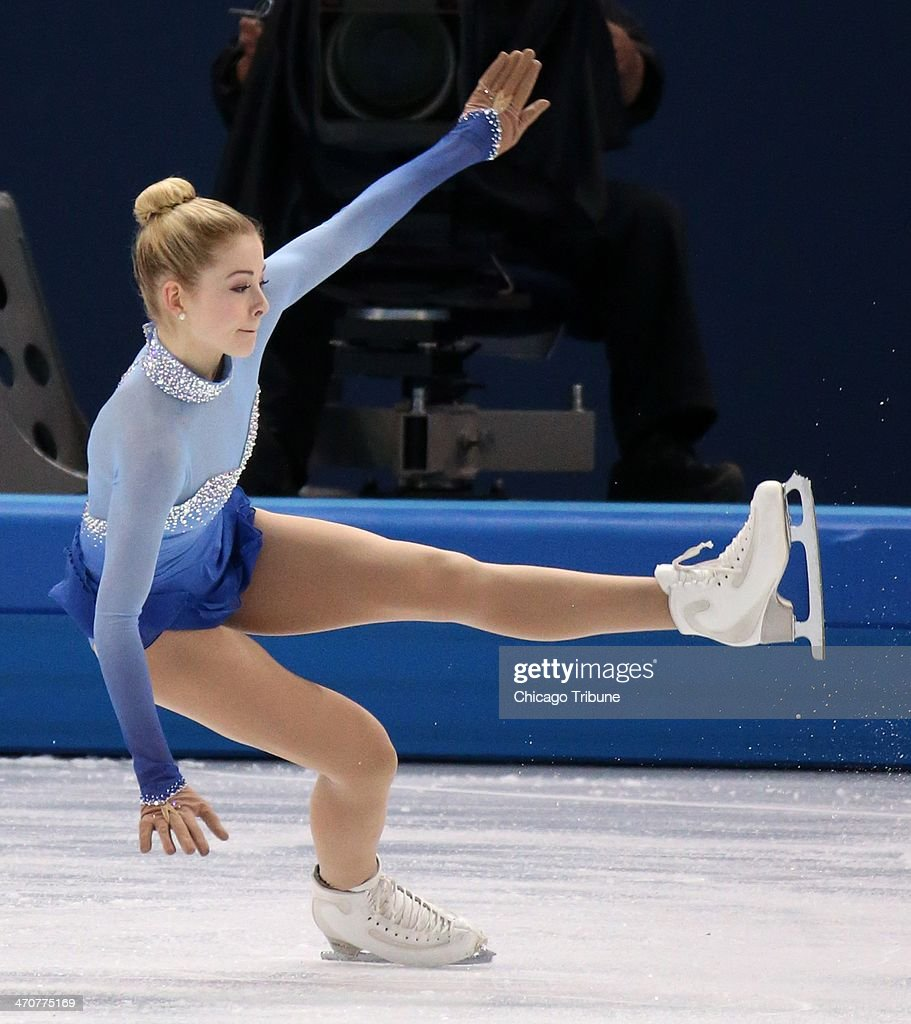 Gracie Gold of the USA falls in the ladies' figure skating free skate at the Iceberg Skating Palace during the Winter Olympics in Sochi, Russia, Thursday, Feb. 20, 2014.