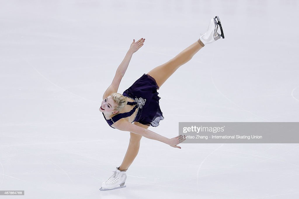 <a gi-track='captionPersonalityLinkClicked' href=/galleries/search?phrase=Gracie+Gold&family=editorial&specificpeople=9153874 ng-click='$event.stopPropagation()'>Gracie Gold</a> of United Status performs during the Ice Dance-Ladies Free Skating on day four of the 2015 ISU World Figure Skating Championships at Shanghai Oriental Sports Center on March 28, 2015 in Shanghai, China.
