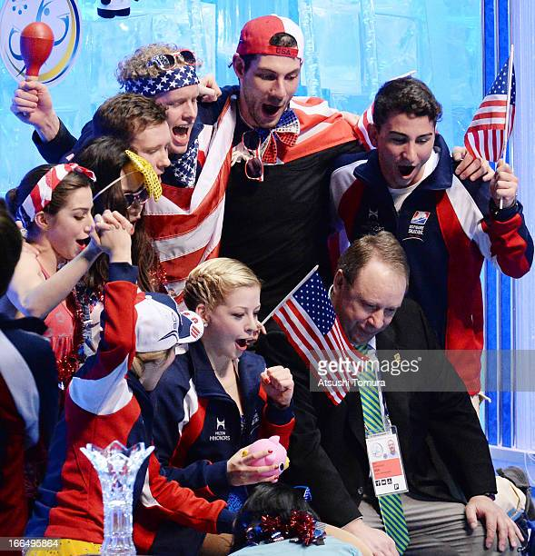 Gracie Gold of USA celebrates with teammates in the free program during day three of the ISU World Team Trophy at Yoyogi National Gymnasium on April...