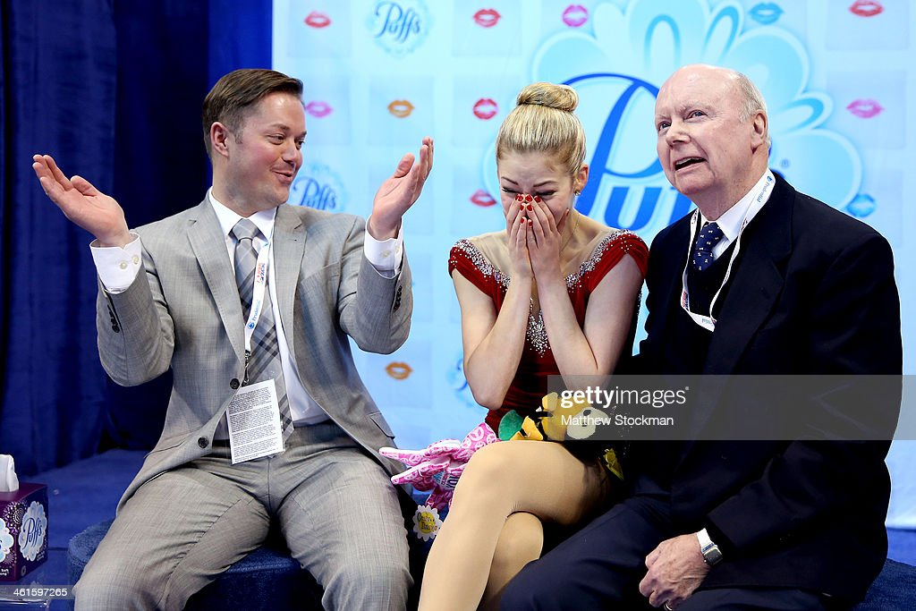 <a gi-track='captionPersonalityLinkClicked' href=/galleries/search?phrase=Gracie+Gold&family=editorial&specificpeople=9153874 ng-click='$event.stopPropagation()'>Gracie Gold</a> reacts to her scores with coaches Scott Brown and Frank Carroll in the kiss and cry after skating in the short program during the Prudential U.S. Figure Skating Championships at TD Garden on January 9, 2014 in Boston, Massachusetts.