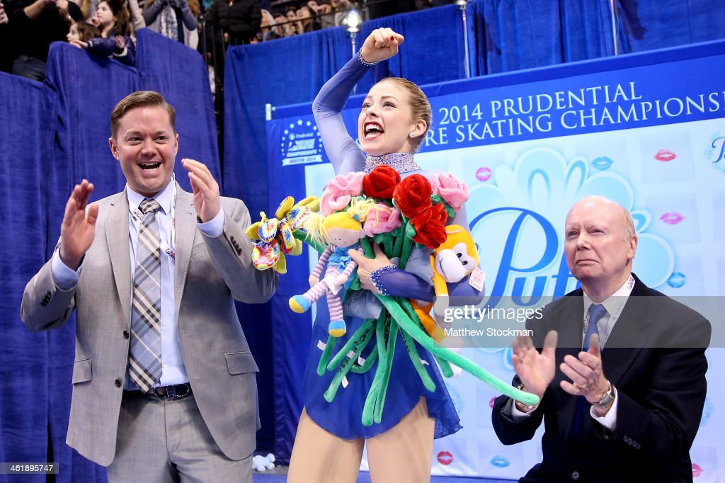 <a gi-track='captionPersonalityLinkClicked' href=/galleries/search?phrase=Gracie+Gold&family=editorial&specificpeople=9153874 ng-click='$event.stopPropagation()'>Gracie Gold</a>, with her coaches Scott Brown and Frank Carroll, celebrates in the kiss and cry after skating in the ladies free skate during the Prudential U.S. Figure Skating Championships at TD Garden on January 11, 2014 in Boston, Massachusetts.