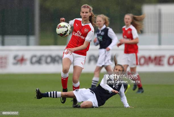 Gracie Pearce of Arsenal Ladies and Annie Rossiter of Millwall Lionesses during the FA Girls' Youth Cup Final between Millwall Lionesses U16 Vs...