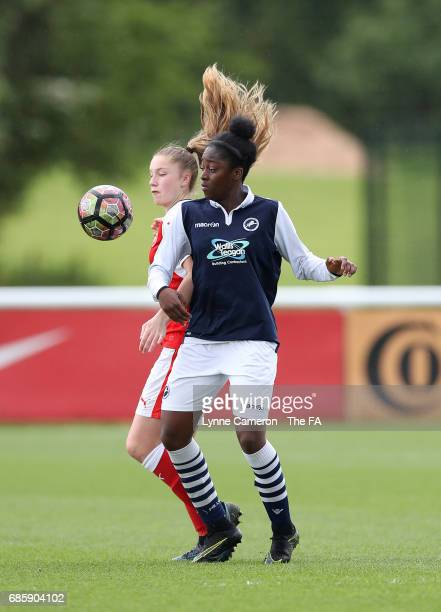 Gracie Pearce of Arsenal Ladies and Kara Fordjour of Millwall Lionesses during the FA Girls' Youth Cup Final between Millwall Lionesses U16 Vs...