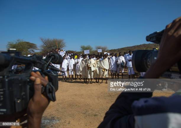 Grade age teenagers during the Gada system ceremony in Borana tribe Oromia Yabelo Ethiopia on March 7 2017 in Yabelo Ethiopia