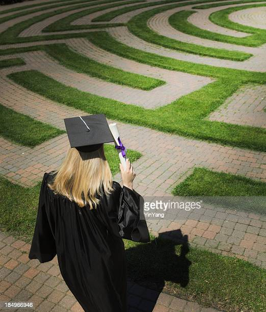Graduaction Maze, Young Woman Searching Employment, Occupation, Career Opportunity Paths