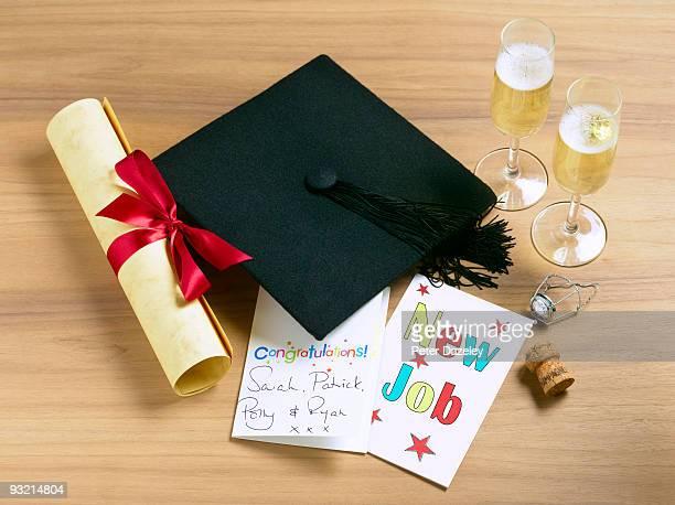 Graduate celebrating new job still life