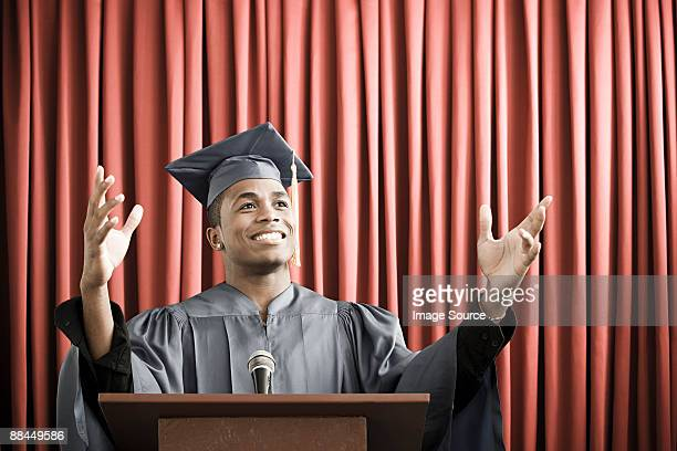 Graduate giving speech