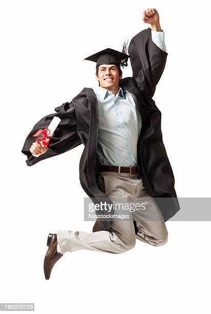 Graduate Jumping in the Air - Isolated