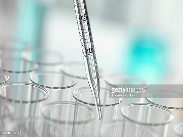 A graduated pipette being inserted into test tube
