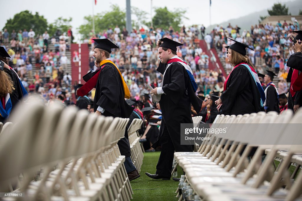 Graduates arrives at Williams Stadium prior to the start of the commencement ceremony where Republican US presidential hopeful and former Florida...