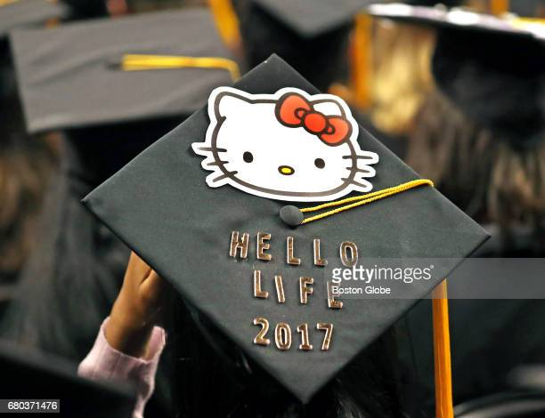 Graduates from Northeastern University have decorated caps at their 2017 Commencement at TD Garden in Boston on May 5 2017