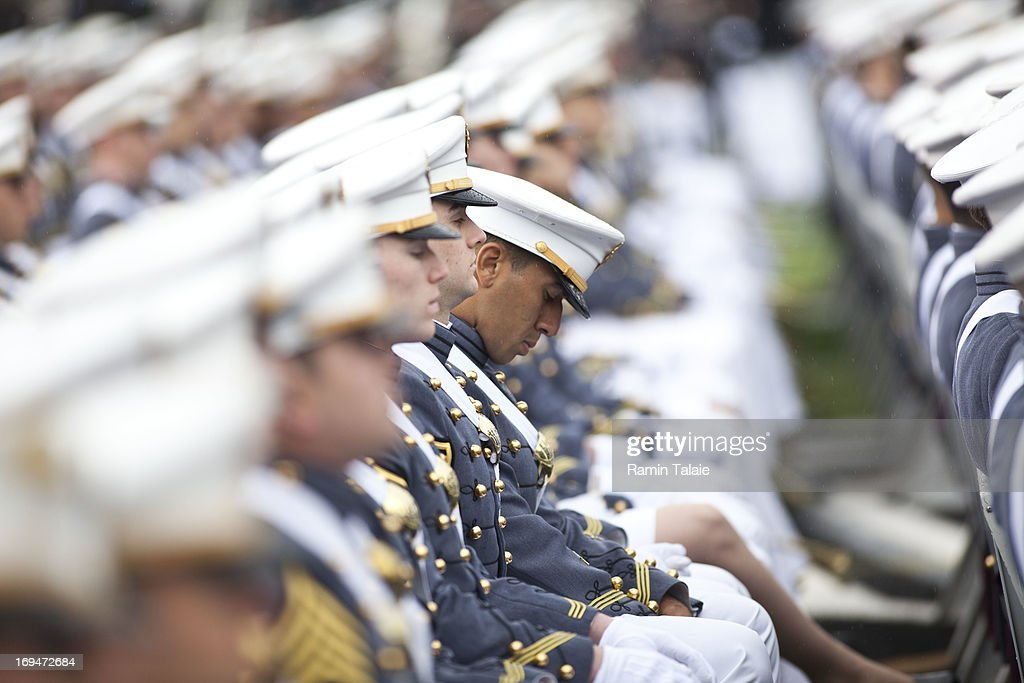 2013 graduating cadets listen at the United States Military Academy at West Point during the 215 commencement ceremony May 25 2013 in West Point New...