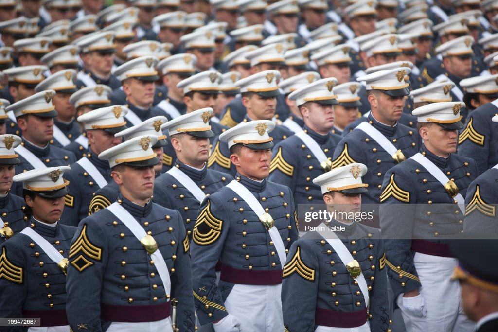 2013 graduating cadets stand in formation at the United States Military Academy at West Point during the 215 commencement ceremony May 25 2013 in...