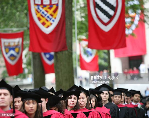 Graduating Harvard University students attend commencement ceremonies June 5 in Cambridge Massachusetts JK Rowling who wrote the popular Harry Potter...