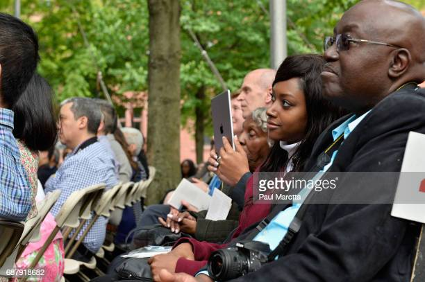 Graduating students and family watched as former Vice President Joseph Biden speaks at the Harvard College Class of 2017 Class Day Exercises at...