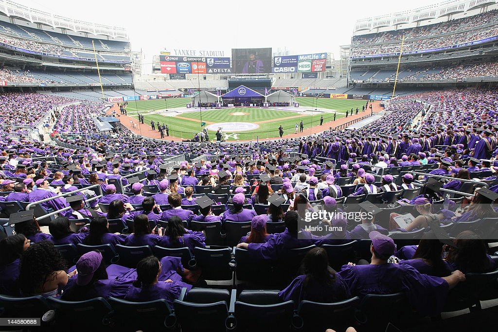 Graduating students attend New York University's commencement ceremony at Yankee Stadium on May 16, 2012 in the Bronx borough of New York City. U.S. Supreme Court Justice Sonia Sotomayor spoke to a crowd of more than 27,000 at the ceremony and was raised in a Bronx housing project not far from the stadium.