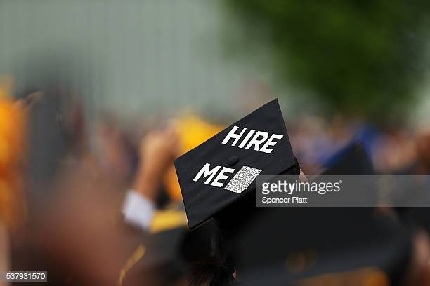 A graduating student's cap declares their future intentions during commencement exercises at City College where First lady Michelle Obama delivered...