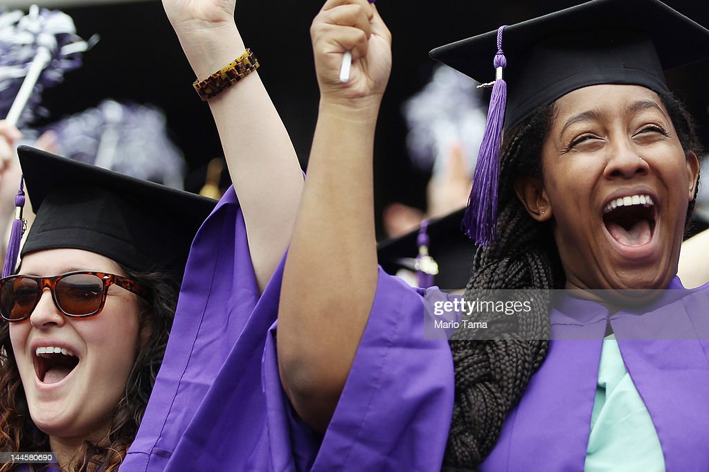 Graduating students celebrate at New York University's commencement ceremony at Yankee Stadium on May 16, 2012 in the Bronx borough of New York City. U.S. Supreme Court Justice Sonia Sotomayor spoke to a crowd of more than 27,000 at the ceremony and was raised in a Bronx housing project not far from the stadium.
