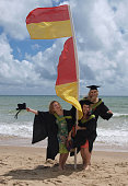 Celebrating graduation day on the beach!