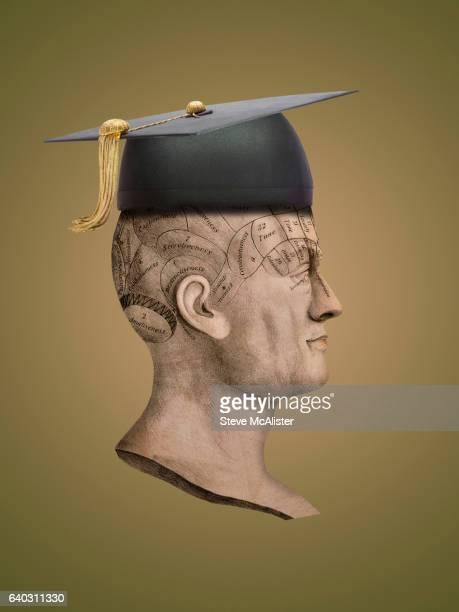 Graduation Cap atop Phrenology Illustration