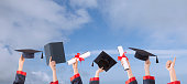 graduation ceremony hats  and hands up with sunny sky
