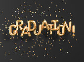 Graduation gold text black backgound banner.Congratulation graduates party golden balloons and confetti. 3d rendering
