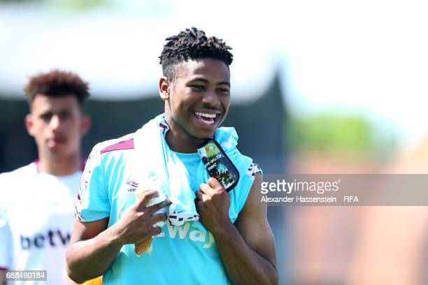 Grady Diangana of West Ham United smiles on day two of the Blue Stars/FIFA Youth Cup 2017 at the Buchlern sports complex on May 25 2017 in Zurich...