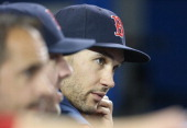 Grady Sizemore of the Boston Red Sox looks on from the dugout during MLB game action against the Toronto Blue Jays on April 25 2014 at Rogers Centre...